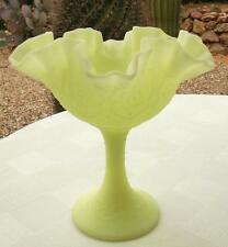 Fenton Glass Compote Yellow Satin Crimped Ruffled
