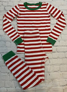 HANNA ANDERSSON Red Striped 100% Organic Cotton Long Pajamas Size 130 (8)