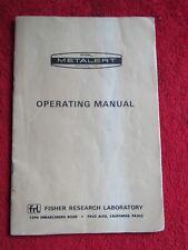 Metal detector Operating Manual - Fisher Metalert Model 70 - Fisher Research Lab