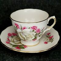 VINTAGE ROYAL VALE TEACUP AND SAUCER WHITE CABBAGE ROSE ENGLAND
