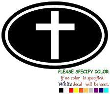 "Christian Flag Oval Adhesive Vinyl Decal Sticker Car Truck Window Bumper 12"""