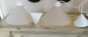 Vtg Frosted Glass Pendant Lights, Cone shaped, White Cord & Trim Italy