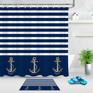 Abstract Design Anchors Sailor Blue Stripe Shower Curtain Set Bathroom Decor 72""