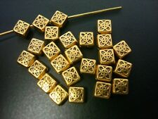 25 Antiq Gold plated 4.5mm square diagonal jewelry spacer beads findings fpb220