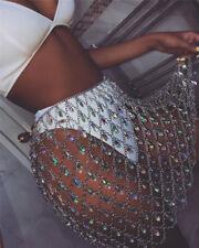 BOHO Women Festival Metal Crystal Skirts Body Chain Tassle Pendant Beach Bikini