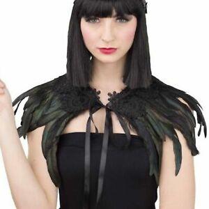 Schwarzer Kragen mit Federn Spitze und Brosche Rabe Black Swan Kostüm Zubehör