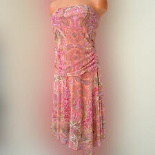 xhilaration L Large Paisley Pink Dress Strapless Asymmetrical dress Club Casual