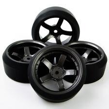 4 Pcs RC Drift Tires & Rim Fit HSP HPI 1:10 On-Road Car D5M+PP0370 6mm offset