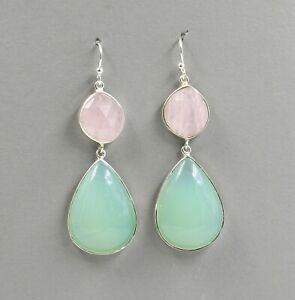 Solid 925 Sterling Silver Jewelry Rose Quartz Aqua Chalcedony Earring SE3087