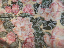Mauve/Cream/Pink Foral ROSE PRINT Lined Small Tablecloth or OVERLAY or Lap Throw