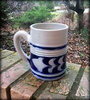 Williamsburg  Stoneware Pottery Mug Salt Glazed Cobalt Blue