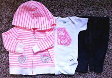 Girl's Size 3 M 0-3 Months Carter's Pink White Floral Jacket, Leggings + Top