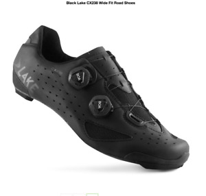 Lake CX238 Carbon Water Resistent Road Shoe In Black   Wide Fit   Size 43