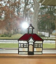 """Forma Vitrum Stained Glass GlasScapes """"Country School House"""" With Original Box"""