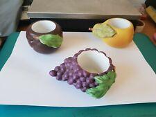 MEGA RARE PARTYLITE céramique votive Candle Holders X 3 Fruits Raisin Poire Prune