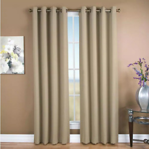 Ultimate Blackout 56 in. W x 84 in. L Polyester Blackout Window Panel in Putty