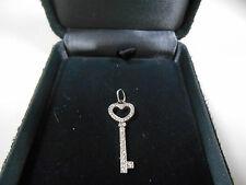 Tiffany & Co ALL Diamond Heart Diamond Stem Platinum Key Pendant