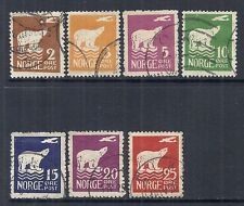 1925 Norway - SC 104-110 MI 109-115 - Polar Bear Set of 7, Used*