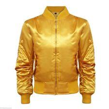 Women Ladies Satin Ma1 Bomber Jacket Vintage Summer Coat Flight Army Biker Retro Bronze UK S (10)