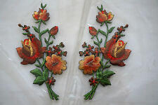 Light Brown roses pair flowers floral boutique Embroidered Sew Iron on Patch