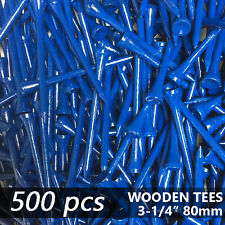 """X 500 NAVY BLUE NEW GOLF TEE NATURAL WOODED TEES 3-1/4"""" 80MM LONG LENGTH"""