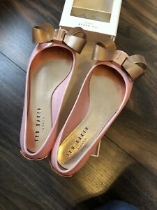 Ted Baker Pink And Rose Gold Jelly Pump Shoes Size 3