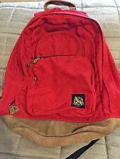 Vintage Eddie Bauer Red Nylon Canvas Leather Suede Bottom Backpack Daypack