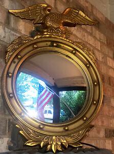 VTG Lg Eagle Federal Convex Mirror Gold Syroco Wall Hanging Bubble Bullseye