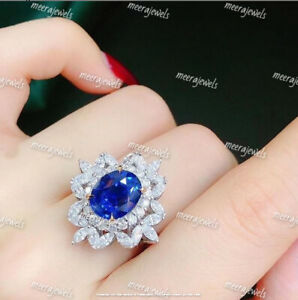 4.70Ct Oval Cut Blue Sapphire Double Halo Engagement Ring 14K Yellow Gold Finish