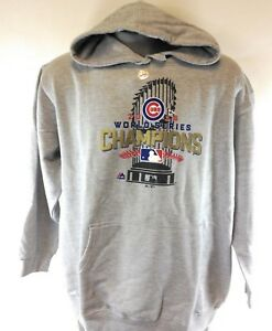 Womens Majestic Chicago Cubs 2016 World Series Champs Grey Hoodie Sweatshirt