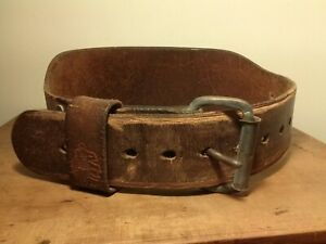 """VINTAGE ALTUS 4"""" WEIGHT LIFTING BELT BROWN LEATHER SIZE SMALL 24-28"""" AS FOUND"""