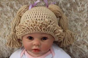 Knit Crochet Baby Kids Cabbage Patch Doll Wig Hat Cap Newborn Photo Prop Beige
