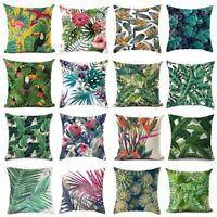 18'' Green Tropical plant Pillow Case Cotton Linen Sofa Cushion Cover Decorative