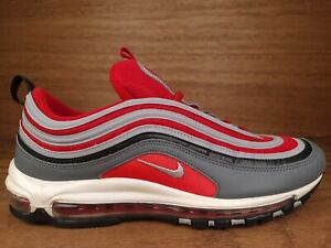 Nike Mens Air Max 97Ohio State OSU Shoes 921826-007 Gray Red Low Top Size 13