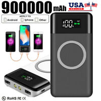 900000mAh Power Bank Qi Wireless Fast Charging Portable Charger External Battery