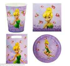 TINKERBELL PARTY SUPPLIES PACK OF 40, 8 PLATES, 8 CUPS, 16 NAPKINS, 8 LOOT BAGS