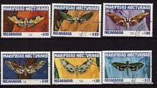 136T1  NICARAGUA serie 6 timbres oblit.Papillons de nuit