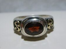 VANESSA MICHAELS STERLING SILVER 18K GOLD GENUINE RED STONE WOMENS RING BAND