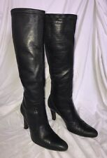 Women's COLE HAAN Black Soft Leather Tall Boots Sz 7.5