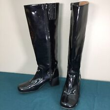 Used Ibiza Last Jeffrey Campbell Womens Knee High Shiny Black Side Zip Boots 8