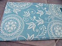 "NEW Blue Floral Medallion TABLECLOTH 52"" X 70"" White Scroll Design Spring Decor"