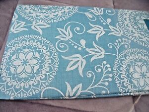 """NEW Blue Floral Medallion TABLECLOTH 52"""" X 70"""" White Scroll Design Cottage Decor"""