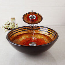 Traditional Design Vessel Vanity Sink Bowl &Faucet Bathroom Glass Basin Set New