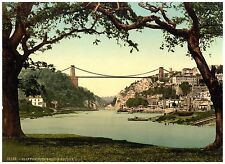Bristol Clifton suspension bridge from the ferry photochrome print ca. 1890