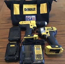Dewalt 20v Cordless Drill & Impact Driver Set With Two Batteries, Charger & Bag