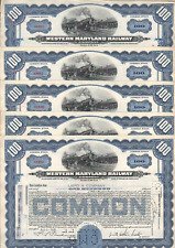 5 Stks Western Maryland RY 100 shares Common  Dated 1955 in Blue
