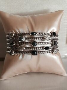 David Yurman Five Row Confetti  Bracelet Hematite Diamond Black Onyx