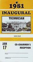 1981 Inaugural  Security Pass Technician Jan 17 Co-Chairman's Reception