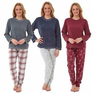 Womens/Ladies Fleece Thermal Pyjamas Pyjama PJs Winter Nightwear Set Size 8-20