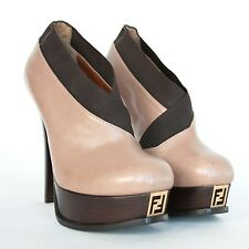 FENDI $895 Fendista elastic wrap collar booties platform shoes heels 38.5 NEW